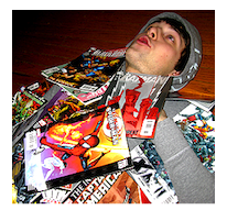 Ben In a Pile of Comic Books